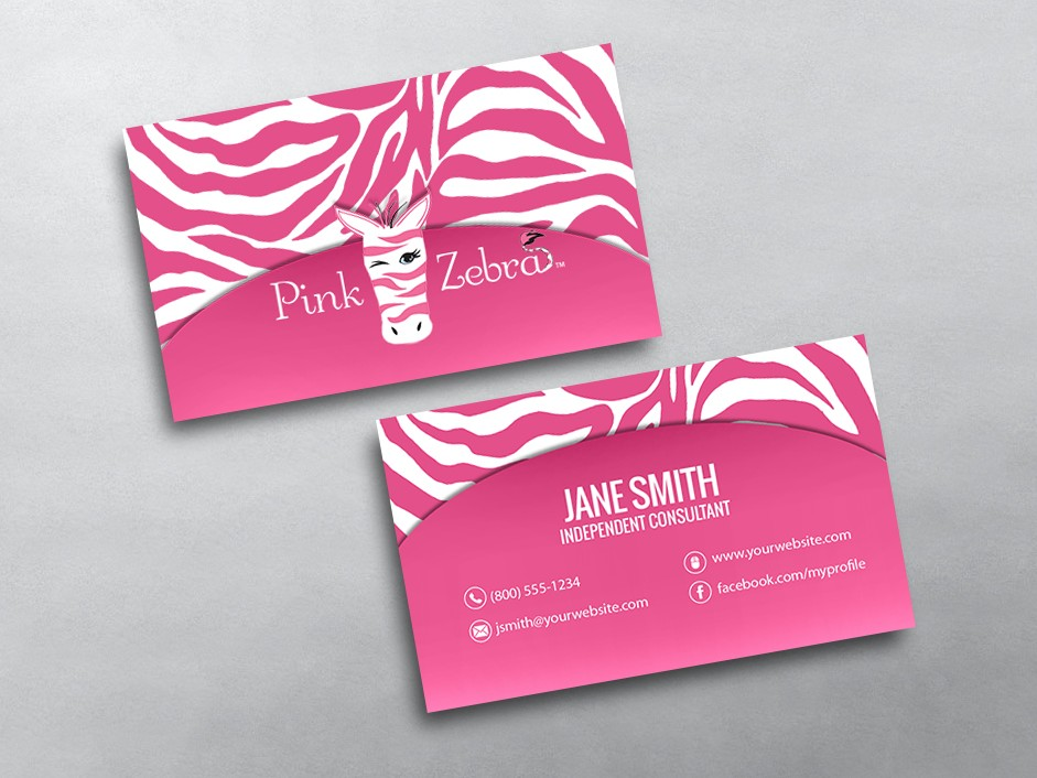 Pink Zebra Business Cards : Free Shipping
