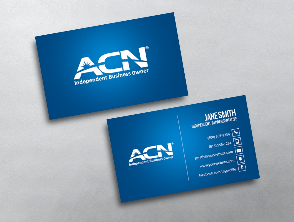 Professional Blue ACN Business Card Template with logo
