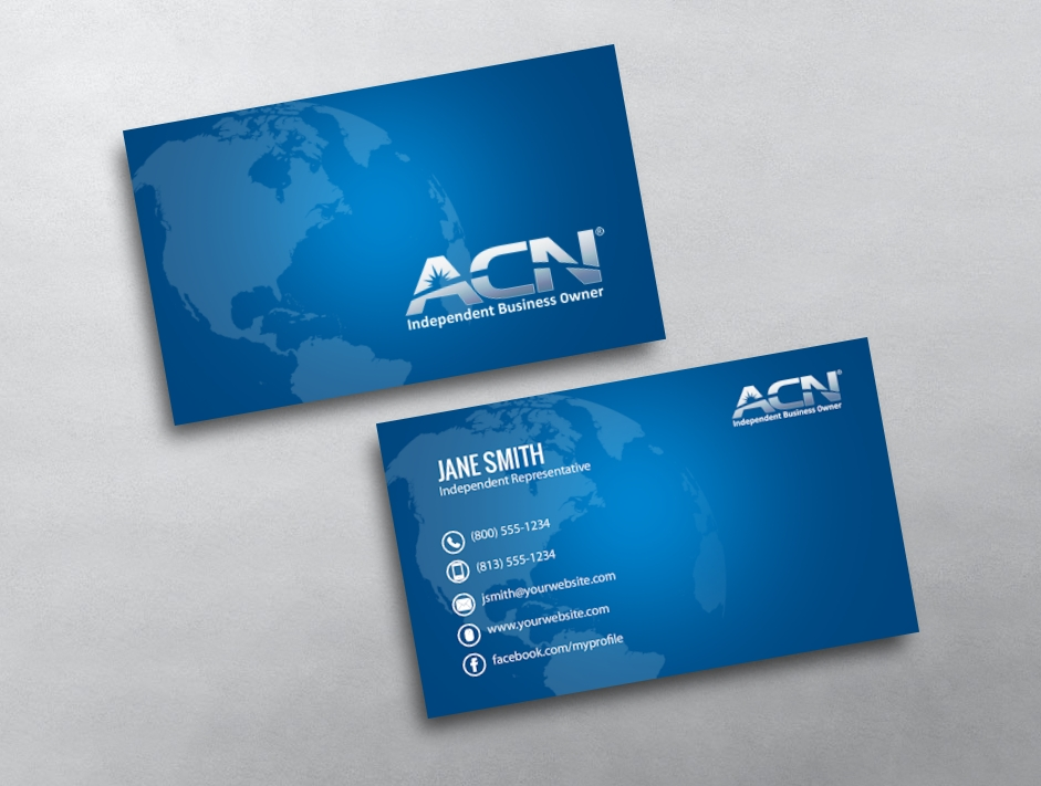Blue acn ibo business cards design online free proofs category acn business cards free reheart Gallery